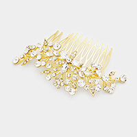 Floral Glass Crystal Hair Comb