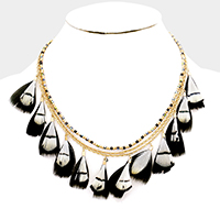 Beaded Feather Fringe Necklace