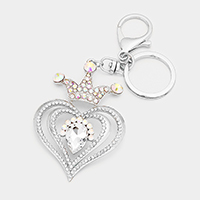 Stone Trimmed Crown Heart Key Chain