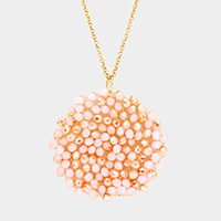 Beaded Disc Pendant Necklace