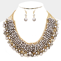 Bead Pearl Cluster Vine Statement Necklace