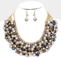Multi Glass Beaded Pearl Cluster Statement Necklace