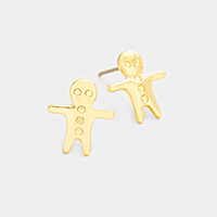 Metal Ginger Cookie Stud Earrings