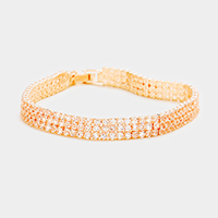 3Rows Crystal Rhinestone Evening Bracelet