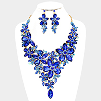 Marquise Glass Crystal Flower Cluster Vine Evening Necklace