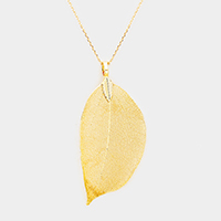 Natural Dipped Filigree Leaf Pendant Necklace