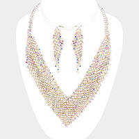 Pave Crystal Rhinestone Marquise V-Collar Necklace
