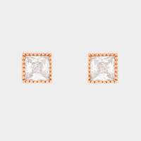 Square Crystal Cubic Zirconia Stud Earrings