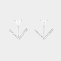 Cubic Zirconia Chevron Double Sided Swing Stud Earrings