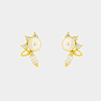 Cubic Zirconia Accented Pearl Stud Earrings