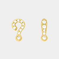 Cubic Zirconia Question Exclamation Mark Stud Earrings