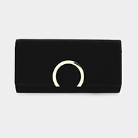 Suede Metal Hoop Detail Clutch Bag