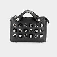 Faux Leather Multi Studded Crossbody Bag