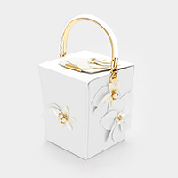 Faux Leather Flower Pearl Metal Handle Tote Bag