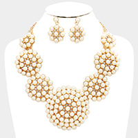 Floral Rhinestone Pearl Cluster Statement Necklace