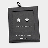Secret Box _ White Gold Dipped CZ Star Stud Earrings