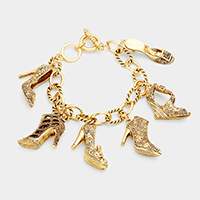 Antique Multi Heel Charm Station Bracelet
