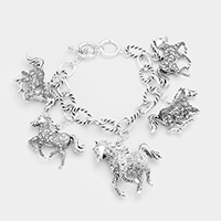 Antique Multi Running Horse Charm Station Bracelet