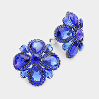Rhinestone Trimmed Glass Teardrop Flower Clip on Earrings