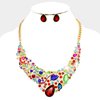 Bubble Stone Cluster Teardrop Glass Crystal Evening Necklace