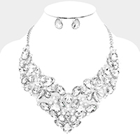 Marquise Teardrop Oval Glass Crystal Evening Necklace