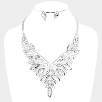 Rhinestone Oval Glass Crystal Cluster Vine Evening Necklace
