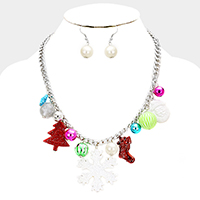 Bling Christmas Tree Snowflake Charm Necklace