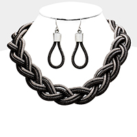 Two Tone Braided Cord Collar Statement Necklace