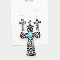 Antique Turquoise Centered Cross Magnetic Pendant Set