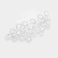 Crystal Rhinestone Flower Leaf Hair Comb