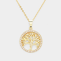 CZ Trimmed Filigree Tree of Life Pendant Necklace