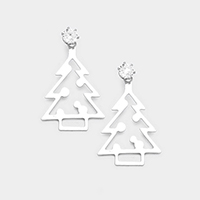 Cubic Zirconia Cut Out Metal Christmas Tree Earrings