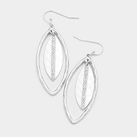 Crystal Rhinestone Lined Metal Oval Hoop Dangle Earrings