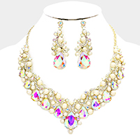 Teardrop Glass Crystal Pearl Cluster Evening Necklace