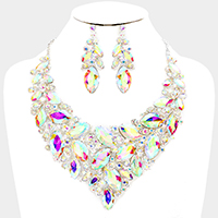 Oval Glass Crystal Cluster Marquise Necklace