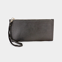 Faux Leather Zipper Closure  Wristlet