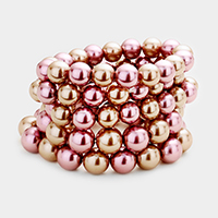 4Layers Multi Strand Pearl Stretch Bracelet