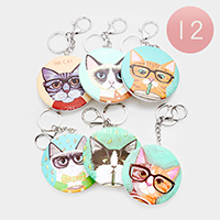 12PCS - Cat Print Compact Mirror Key Chains
