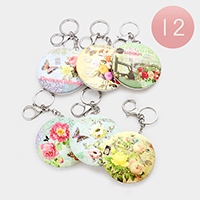 12PCS - Flower Butterfly Print Compact Mirror Key Chains