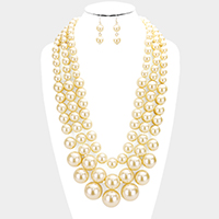 3Rows Layered Chunky Pearl Bib Necklace