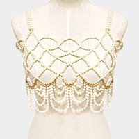 Draped Faux Pearl Fringe Top Body Necklace