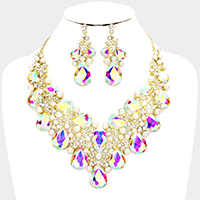 Marquise Teardrop Glass Crystal Pearl Evening Necklace