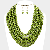 Multi Strand Faceted Round Beaded Bib Necklace