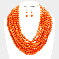Multi Strand Faceted Round Beaded Necklace