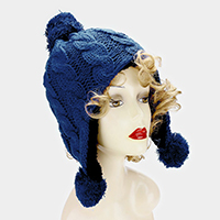 Fleece lined triple pom pom knit earflap beanie hat