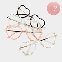 12 PCS - Oversized Bling Heart Optical Glasses