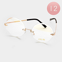 12 PCS - Oversized Frameless Round Sunglasses