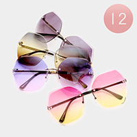 12 PCS - Oversized Oceanic Color Lens Geometric Sunglasses