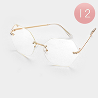 12 PCS - Oversized Frameless Hexagon Sunglasses