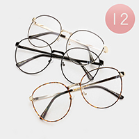 12 PCS - Oversized Retro Thin Metal Frame Optical Glasses